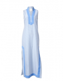 Blue and White Striped Maxi Tunic Dress