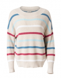 Beige Multi Stripe Ribbed Cotton Sweater