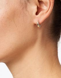 Loeffler Randall - Adeline Gold and Rhinestones Mini Dome Hoop Earrings