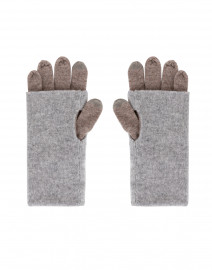 Beige and Grey Colorblock Cashmere Gloves