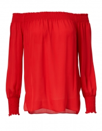 Jade Crimson Red Silk Blouse
