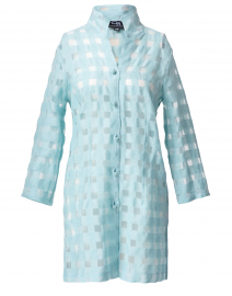 Connie Roberson - Rita Seafoam Sheer Plaid Linen Shirt