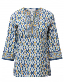 Quinn Indigo Geometric Printed Stretch Cotton Tunic