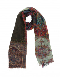 Sarafin Multicolored Tapestry Printed Wool Scarf