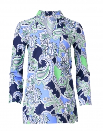 Chris Periwinkle and Green Paisley Printed Nylon Top