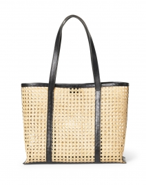 Margot Natural Rattan and Black Leather Tote
