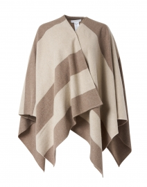 Beige and Ivory Striped Wool Cashmere Cape
