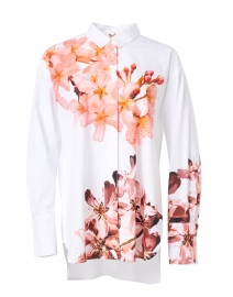 White and Pink Floral Print Cotton Blouse