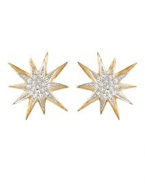 Gold and Crystal Star Stud Earrings