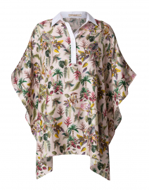 Pink Bird Safari Collared Silk Poncho