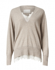Light Beige Lace Wool and Cashmere Sweater