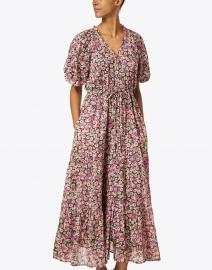 Banjanan - Poppy Pink and Black Floral Cotton Voile Dress