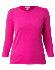 Hot Pink Crew Neck Cotton Sweater