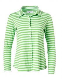 Eastdale Green Striped Bamboo Cotton Top