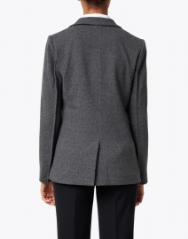 Ecru - Grey Herringbone Cotton Stretch Blazer