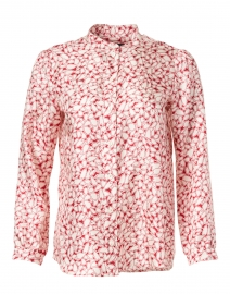 Red and Ivory Hearts Printed Silk Twill Blouse