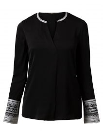 Jona Black Embroidered Stretch Silk Blouse