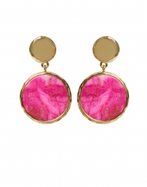 Magenta Agate Disc Drop Earrings