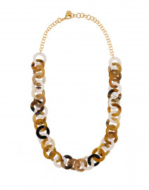 Horn and Bone Circle Link Long Necklace