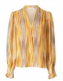 Marcel Yellow and Blue Multicolored Georgette Blouse