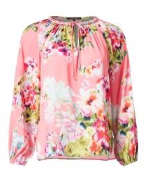 Priscilla Masha Garden Print Hammered Silk Blouse