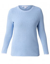 Cornflower Blue Cotton Sweater with White Trim