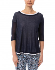 WHY CI - Navy and White Cotton Double Layer Top