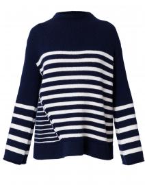 Ida Navy and White Wool Cashmere Sweater