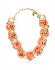 Coral and Gold Resin Rings Link Necklace