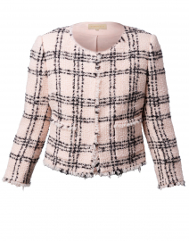 Black and Pink Plaid Tweed Jacket