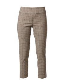 Brown Plaid Stretch Pull On Pant
