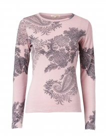 Pink and Grey Paisley Printed Silk Cashmere Sweater