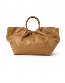 Los Angeles Deep Toffee Smooth Leather Ruched Tote
