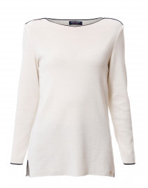 Arles White Wool Sweater with Navy Piping