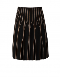 Black and Camel Double Merino Linear Motif Skirt