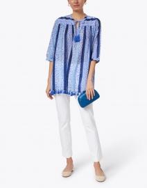 Roller Rabbit - Serafina Blue and White Barre Print Cotton Tunic