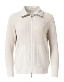 Desert Beige Cotton Cashmere Zip-Up Cardigan
