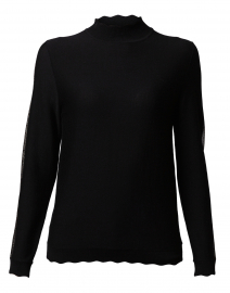 Black Scallop Trimmed Turtleneck