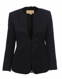 Navy Lurex Striped Tweed Jacket