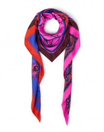 Triangolo Pink, Red and Purple Chain Link Print Silk Scarf