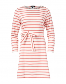 Coral and White Striped Jersey Dress