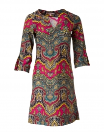 Megan Red and Green Medina Paisley Printed Dress