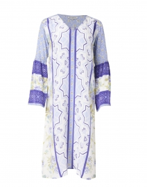 Yeva Periwinkle Blue Floral Print Silk Crepe Dress