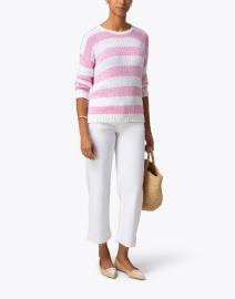 Amina Rubinacci - Conchiglia Pink Striped Cotton Sweater