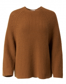 Brown Ribbed Wool Cashmere Sweater
