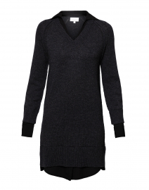 Charcoal Cashmere Tunic with Black Underlayer