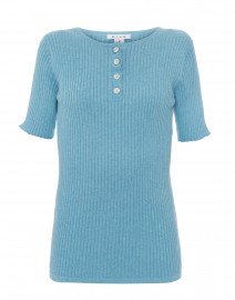 Blue Ribbed Cotton Top