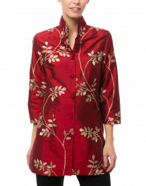Connie Roberson - Rita Ruby and Gold Leaf Embroidered Silk Jacket