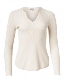 Desert Beige Ribbed Cotton Cashmere Sweater