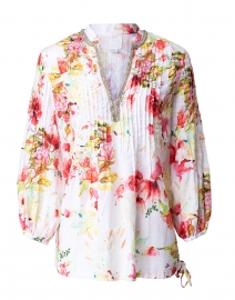 Pink and White Floral Embroidered Linen Shirt
